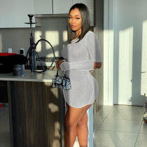 Womens round neck long sleeve sexy hollow fashion slim dress D1738400