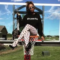 Autumn Womens printed tight yoga pants sports leggings G193AU26