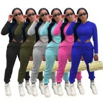 Womens waist high elastic cotton sports two-piece suit YF8134