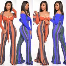 Geometric print high-waist suspenders two-piece fashion casual set GLS8040