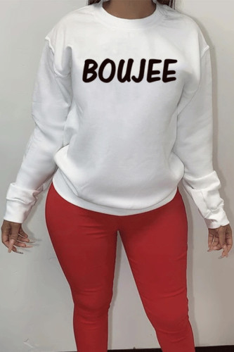 Letter personality printing European and American Womens round neck long sleeve pullover LJ298