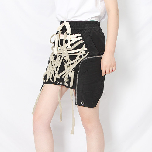 Irregular solid color drawstring leisure A-line skirt fashion personality skirt women TSK25513