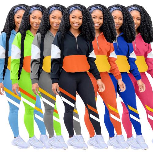 Two-piece multicolor splicing leisure sports suit LM8189