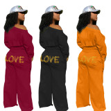 Pure color sweater lips LOVE cuffs knotted wide-leg pants casual suit ZH5273