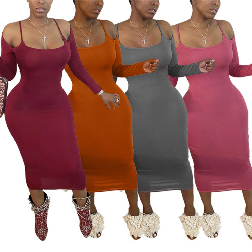 Womens Off-the-shoulder Sling Long Sleeve Dress Q683