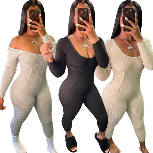 Nightclub One-shoulder slim halter thread sexy jumpsuit BLX7530