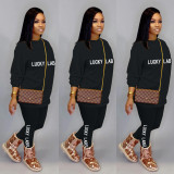 Fashion casual sports Womens clothing embroidery letter lucky label set ZH5269