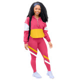 Two-piece multicolor splicing leisure sports suit LM8189