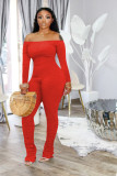 One shoulder long sleeve pleated jumpsuit Q684