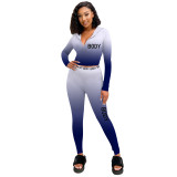 Casual tight sports Womens positioning gradient zipper two-piece suit ZH5272