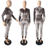 Velvet fabric hooded double pocket long sleeve high quality multicolor two-piece suit MEY128