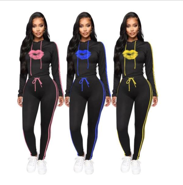 Lip print sports suit hooded two-piece suit MG1029