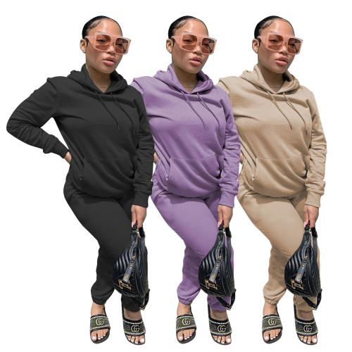 Multi-color sweater material fleece hot sale two-piece suit Q680