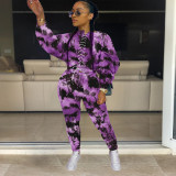 Fashion hot style tie-dye perforated sweater suit street XM1157