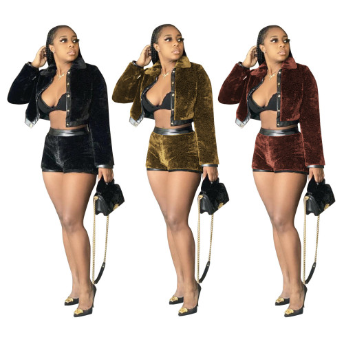 Womens fashion casual suede leather two-piece stitching suit MF5188