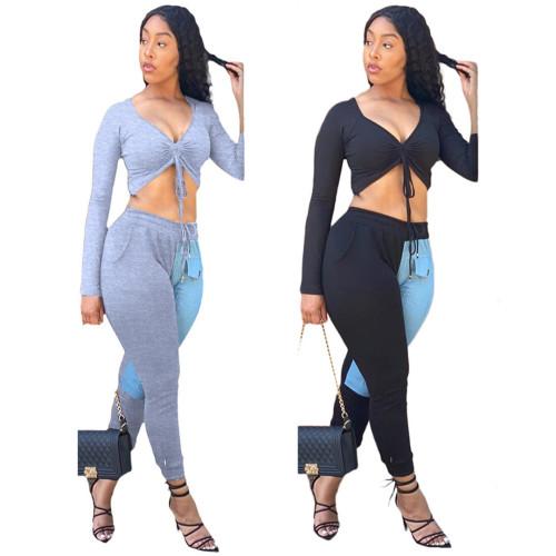 Women Fashion Denim Patchwork Pocket Pants Wrapped Chest Top Casual Suit BLX7205