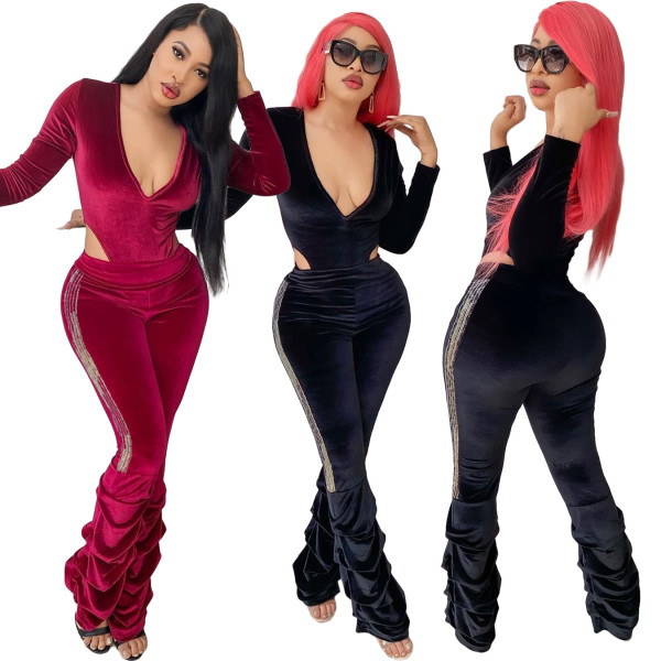 Nightclub gold velvet one-piece sequined pleated pants sexy two-piece suit BLX7529