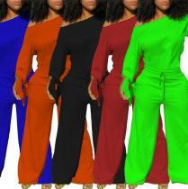 Solid color loose sexy jumpsuit, sweatshirt cotton R6335