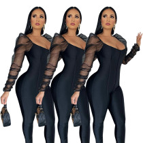 Puff shoulder sleeves mesh pleated stitching jumpsuit Q688
