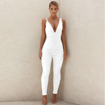 Jumpsuit sexy deep V tight halter pleated bodysuit ZY1558