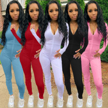 Fashion casual trousers split stitching 5-color long-sleeved jumpsuit ALS215