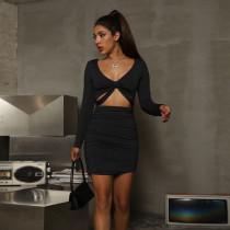 Sexy hollow bag hip skirt long sleeve pleated dress ZY1507