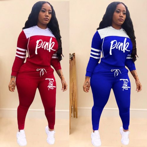 2020 Pink Letter Print Tracksuits Women Two Piece Set Spring Street t-shirt Tops and Jogger Set Suits Casual 2pcs Outfits