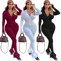 Womens nightclub high neck thread embroidery letters zipper ruffle hem sports jumpsuit QQ5216