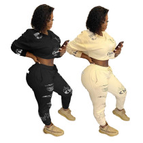 Womens fashion letter printing hip-hop sports sweatshirt two-piece suit XYI9058