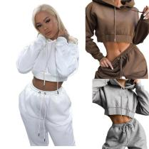 Pure color hooded long-sleeved trousers street casual sports ladies suit KZ175