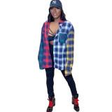 Fashion casual stitching plaid shirt KSN8038