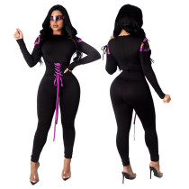 Large size solid color contrast sexy long-sleeved sexy jumpsuit women MY9744