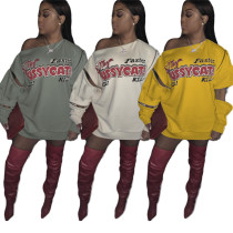 Fashion street print personalized sweater dress with adjustable sleeves AMM8275
