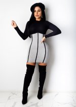 Solid color stitching long sleeve dress CY1260