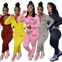 Womens embroidered solid color suit personalized zipper sports sweater two-piece suit R3115