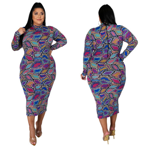 Fat lady Womens plus size long multicolor printed dress SJ4320