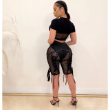 Sexy mesh high waist lace perspective shorts women FF1035