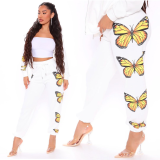 Butterfly print casual pants European and American loose track pants FF1044