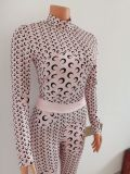 Women's autumn sexy crescent print two-piece suit FF1049