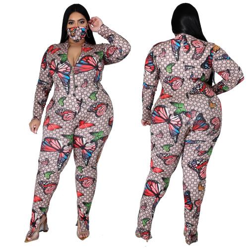 Oversized fat woman stretch digital print jumpsuit SJ3308
