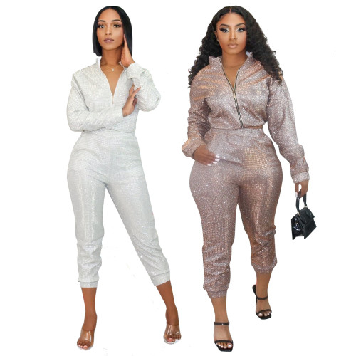 Long Sleeve Top Slim Pencil Pants Sequins Home Party Two-piece Set CCY8749