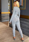 Letter embroidery LUCKYLABEL skinny jumpsuit stitching long-sleeved jumpsuit FF1046