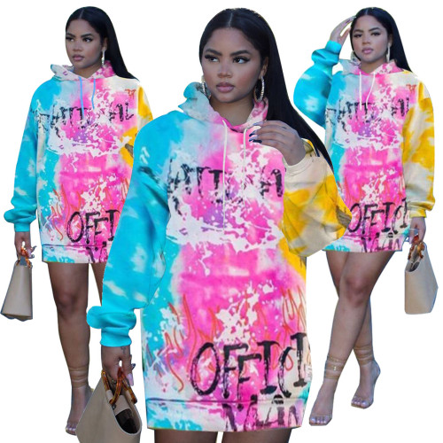 Street fashion printed hooded sweater dress MTY6392