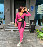 Casual Womens solid color ribbed straps slim two-piece suit TH3566