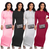 Womens mid-length solid color pit strip slim fit hooded sexy dress BLX7540