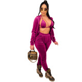 Top casual Korean cashmere jogging sports suit three-piece suit QZ3309