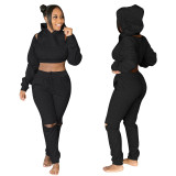 Ladies Falling Shoulder Sleeves Hooded Full Circle Zipper Sweater Set Thickened Sweater Fabric QQM4128