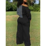 Womens Fashion Stitching Bandage Knotted Sleeve Wide Leg Pants Set BLX7533