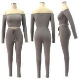 Womens solid color threaded one-shoulder trousers two-piece suit, high crater strip QQM4105