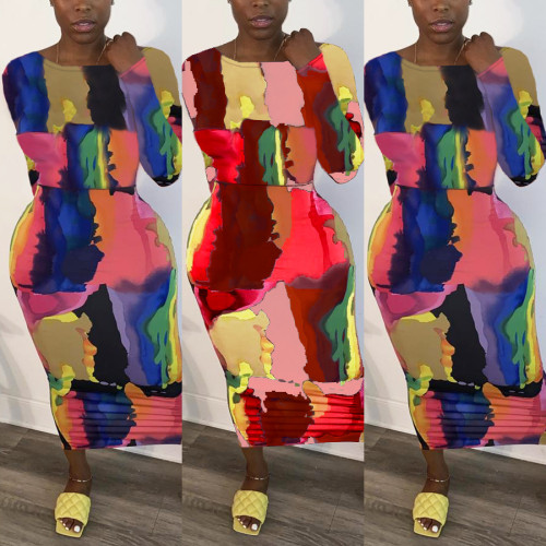 Plus size Womens mid-length fashion print tie-dye pullover round neck split dress YFS3588